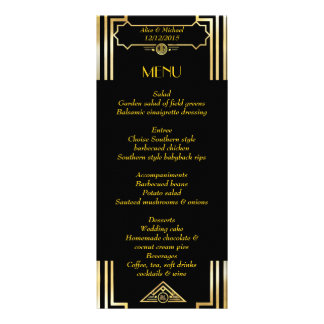 Menu Art Deco Gatsby Style, Art Deco Theme, 1920's Custom Rack Card