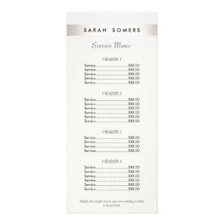 Menu blanc de listes des prix de salon rayé double carte en  couleur