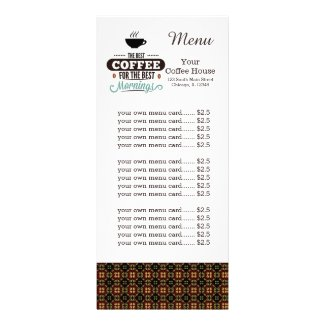 Menu card coffee house
