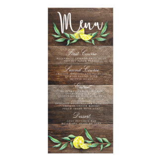 MENU CARD | Rustic Wood Lemon Watercolor Wedding