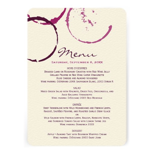 Menu Cards | Wine Stain Rings