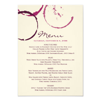 """Menu Cards   Wine Stain Rings 5"""" X 7"""" Invitation Card"""