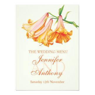 Menu de dîner de mariage de beaux-arts de cloche carton d'invitation  13,97 cm x 19,05 cm