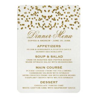 Menu de mariage de confettis de regard de carton d'invitation  12,7 cm x 17,78 cm