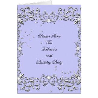 Menu Dinner Card Silver Blue Diamond