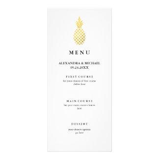 Menu élégant de mariage d'ananas d'or motif pour double carte