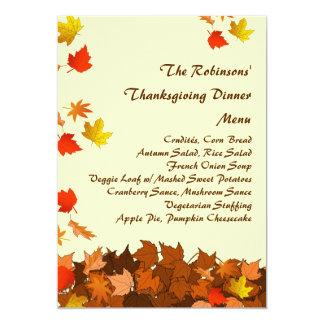 Menu en baisse coloré de dîner de thanksgiving de carton d'invitation  12,7 cm x 17,78 cm