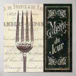 Menu et fourchette français poster