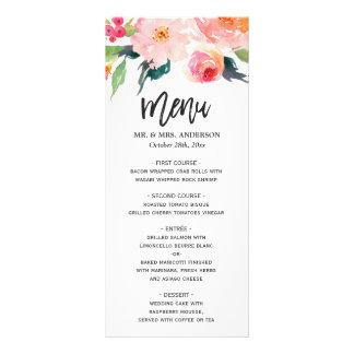 Menu floral botanique de mariage d'aquarelle carte double