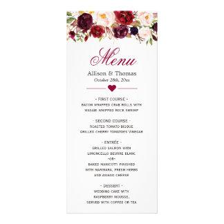 Menu floral rouge rustique de mariage de Bourgogne