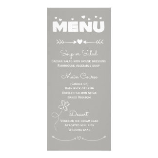Menu Gray & White Hearts & Butterfly Wedding Party