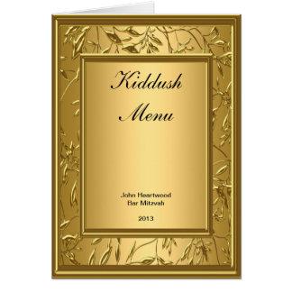 Menu Kiddush, Brunch, Bat Bar Mitzvah Popular Card