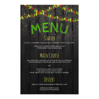 Menu Rustic Caribbean Hot Peppers String Lights Flyer Design