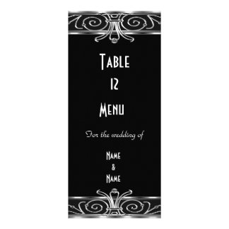 Menu Table Card Elegant Black Silver Art Deco Custom Rack Card