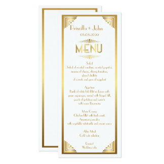 Menu Wedding,menu meeting,great Gatsby,white,gold Card