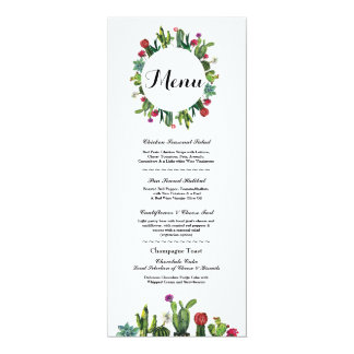Menu Wedding Reception Cactus Fiesta Mexican Menus Card