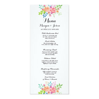 Menu Wedding Reception Elegant Flowers Cards