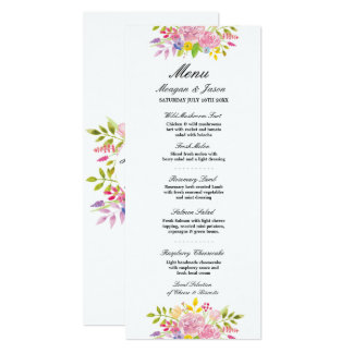 Menu Wedding Reception Pink Wreath Flowers Cards