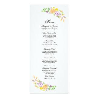 Menu Wedding Reception Purple Coral Flowers Cards