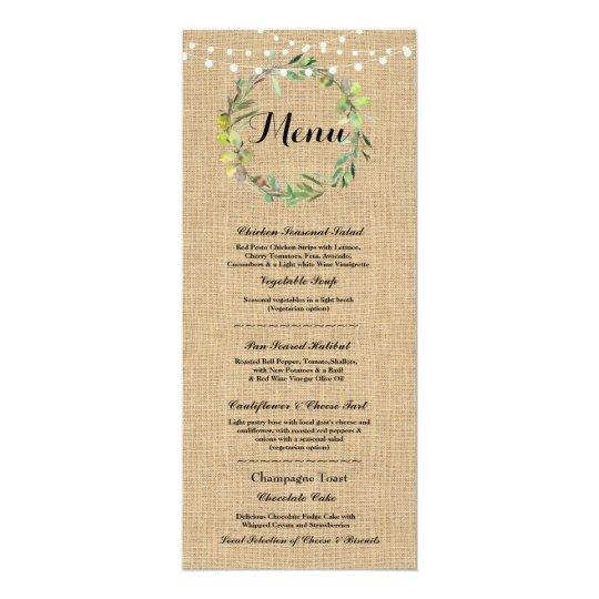 Menu Wedding Reception Rustic Burlap Floral Lights Card
