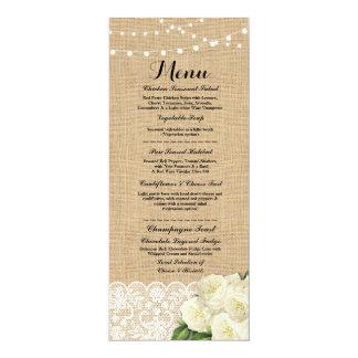 Menu Wedding Reception Rustic Burlap Lace Rose Card
