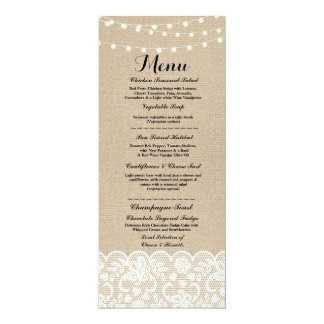 Menu Wedding Reception Rustic Burlap Lace Winter Card