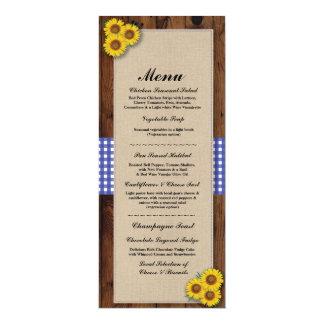 Menu Wedding Reception Rustic Burlap Wood Check Card