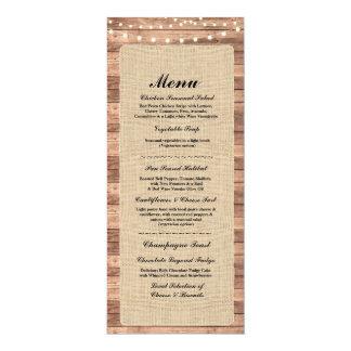 Menu Wedding Reception Rustic Burlap Wood Lights Card