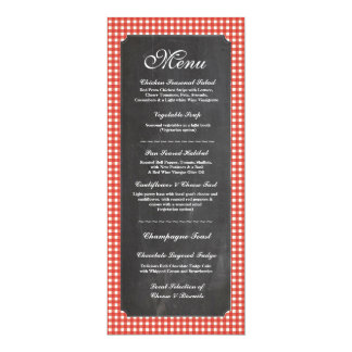 Menu Wedding Reception Rustic Chalk Red Check Card