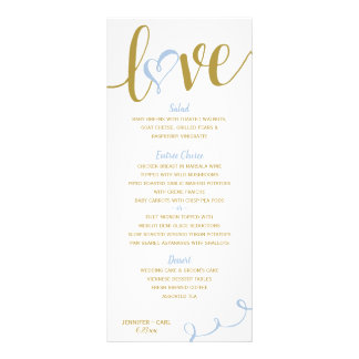 Menus   Love Script (Gold & Light Cornflower )