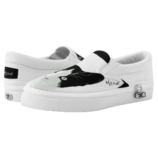 Meow Black and White Cat Slip On Shoes