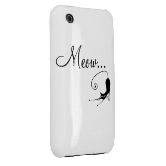 Meow Black Cat iPhone 4 4s Case iPhone 3 Covers