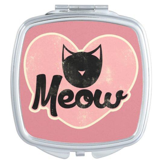 Meow Black Cat Travel Mirror