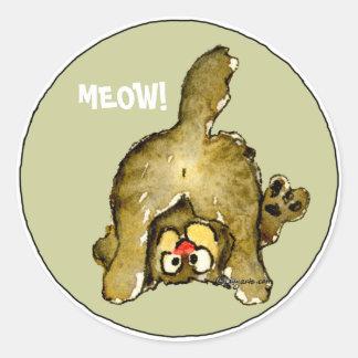 MEOW Cartoon Cat Stickers