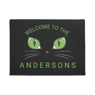 Meow Cat Eyes Personalized Welcome Doormat