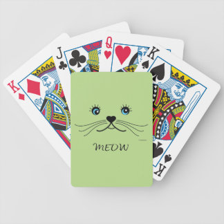 MEOW-Cat Face Graphic Cool Bicycle Playing Cards