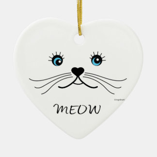 MEOW-Cat Face Graphic Cool Ceramic Ornament
