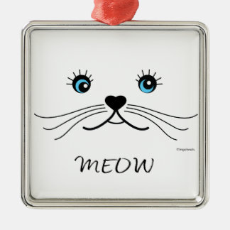 MEOW-Cat Face Graphic Cool Metal Ornament