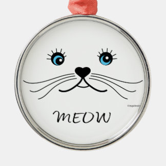 MEOW-Cat Face Graphic Cool Silver-Colored Round Ornament