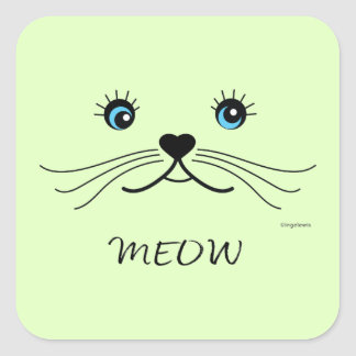MEOW-Cat Face Graphic Cool Square Sticker