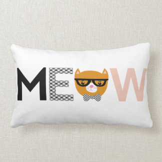 Meow cat throw pillow