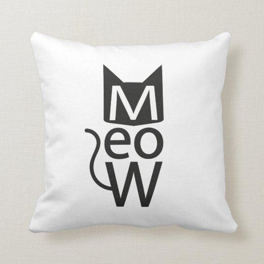 Meow Cat Typographic Throw Pillow