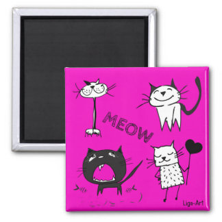 Meow Cats Square Magnet