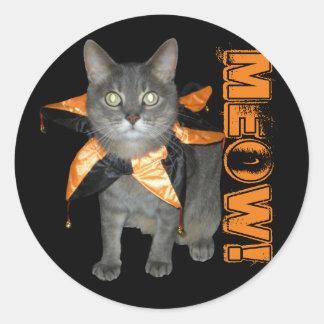 Meow Costume Cat Round Sticker