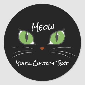 Meow Cute Cat Eyes Pet Party Event Custom Round Sticker