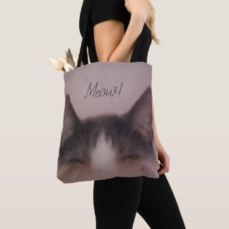 Meow Cute Kitty Painting Design Tote Bag