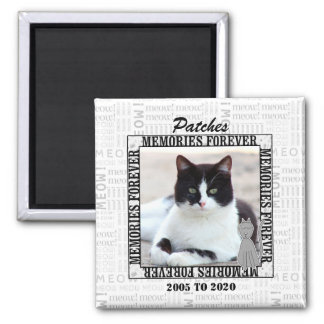 Meow Faded Background Cat's Photo Pet Memorial Square Magnet