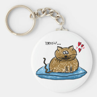 Meow... illustration of a cat on a cushion key-rin basic round button keychain