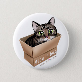 Meow in box 2 inch round button