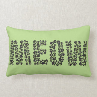 Meow/Love Paw Print Lumbar Pillow